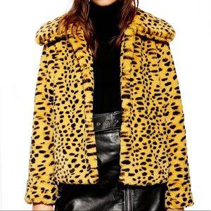 TOPSHOP Cheetah Print Faux Fur Coat Yellow/ Multi